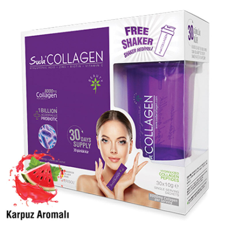 Suda Collagen Takviye Edici Gıda Karpuz Aromalı 30 x 10 gr - Toz Saşe